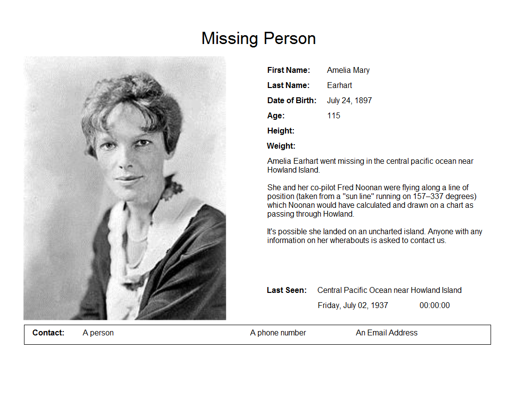Doc24803508 Missing Persons Posters lost person poster 82 – Missing Persons Poster Template